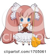Poster, Art Print Of Blue Eyed Pink Haired Manga Maid Girl