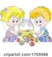 Children With Easter Eggs And A Basket
