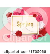 Poster, Art Print Of Spring Card And Roses Over Pink And Green