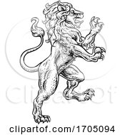 Lion Rearing Rampant Coat Of Arms Heraldic Animal