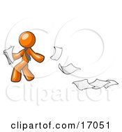 Orange Man Dropping White Sheets Of Paper On A Ground And Leaving A Paper Trail Symbolizing Waste