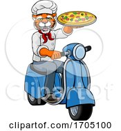 Poster, Art Print Of Tiger Chef Pizza Restaurant Delivery Scooter