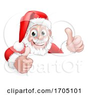 Santa Claus Christmas Peeking Thumbs Up Cartoon