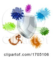 Vaccine Virus Shield Cells Or Antibacterial Icon by AtStockIllustration