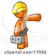 Orange Man A Construction Worker Handyman Or Electrician Wearing A Yellow Hardhat And Tool Belt And Carrying A Metal Toolbox While Pointing To The Right