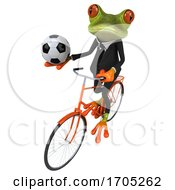 3d Green Business Springer Frog On A White Background