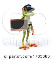 3d Green Police Frog On A White Background