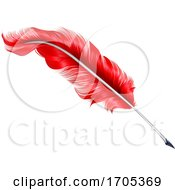 Red Plume Feather Quill Pen