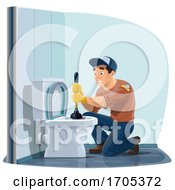 Happy Plumber Using A Plunger On A Toilet