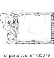 Easter Bunny Rabbit Sign Background Cartoon