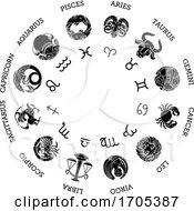 Poster, Art Print Of Astrological Zodiac Horoscope Star Signs Symbols