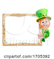 Leprechaun St Patricks Day Cartoon Background Sign