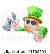Poster, Art Print Of Leprechaun St Patricks Day Drink Shades Sign