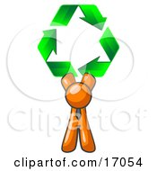 Orange Man Holding Up Three Green Arrows Forming A Triangle And Moving In A Clockwise Motion Symbolizing Renewable Energy And Recycling Clipart Illustration by Leo Blanchette