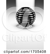 3d Abstract Black Plastic Ribbed Sphere On White Reflective Flat Floor With Light Behind