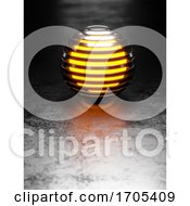 Poster, Art Print Of 3d Abstract Metallic Ribbed Sphere With Glowing Orange Centre On Metallic Flat Floor With Light Behind
