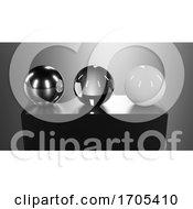 3d Glass Chrome And Plastic Spheres On Black Plastic Pedestal