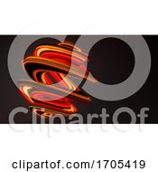 3d Abstract Red Plastic Glowing Swirl On Dark Background