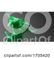 3d Fluid Green Splash Of Liquid Paint Against Gray Background