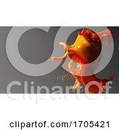 3d Fluid Orange Splash Of Liquid Paint Against Gray Background