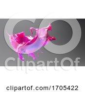 3d Pink Fluid Liquid Paint Splash Frozen In Time Against Gray Background