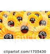 Poster, Art Print Of 3d Smiling Happy Field Of Yellow Sunflowers Looking At The Camera