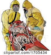 Emergency Medical Workers In Suits And A Patient On A Gurney by dero