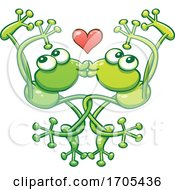 Poster, Art Print Of Tangled Kissing And Dancing Frogs In Love