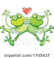 Poster, Art Print Of Tangled Kissing Frogs In Love