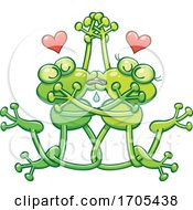 Poster, Art Print Of Tangled Kissing Frogs