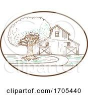 American Barn Oak Tree Mono Line Oval