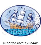 Boreas Blowing Sailing Ship Oval Drawing