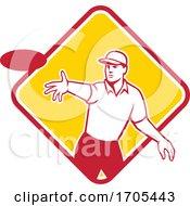 Disc Golf Player Throwing Mascot Diamond by patrimonio