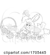 Poster, Art Print Of Bunny Rabbit Painting Easter Eggs