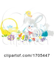 Bunny Rabbit Painting Easter Eggs