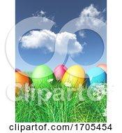 3D Easter Eggs Nestled In Grass