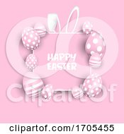 Poster, Art Print Of Cute Easter Background With Eggs And Bunny Ears