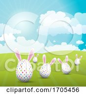 Poster, Art Print Of Cute Easter Eggs With Bunny Ears In A Sunny Landscape