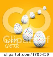 Poster, Art Print Of Easter Background With Polka Dot Patterned Eggs