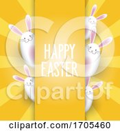 Easter Background With Cute Bunnies