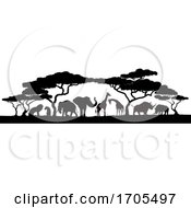 Animal Silhouettes African Safari Scene by AtStockIllustration
