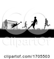 Soccer Football Players Silhouette Match Scene
