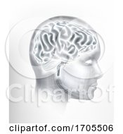 Poster, Art Print Of Human Brain Ai Head Face Intelligence Concept