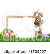 Easter Bunny Sign Eggs Basket Background Cartoon