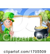 St Patricks Day Sign Leprechaun Cartoon Scene
