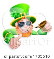 Leprechaun St Patricks Day Cartoon Sunglasses Sign