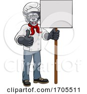 Poster, Art Print Of Wolf Chef Cartoon Restaurant Mascot Sign