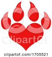 Poster, Art Print Of Heart Shaped Dog Paw Print