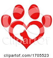 Heart Shaped Dog Paw Print