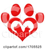Poster, Art Print Of Heart Shaped Paw Print With Silhouetted Cat And Dog